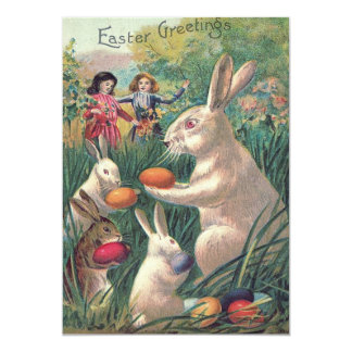 Easter Bunny Colored Egg Victorian Women Card