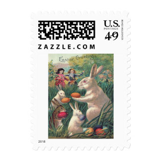 Easter Bunny Colored Egg Victorian Women Postage