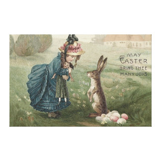 Easter Bunny Colored Eggs Girl Doll Landscape Canvas Print