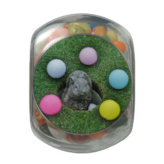 Easter Bunny colored golf ball Eggs Glass Candy Jars