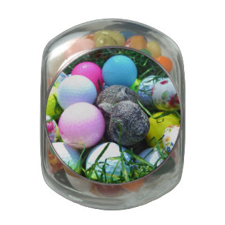 Easter Bunny colored golf ball Eggs Glass Jar
