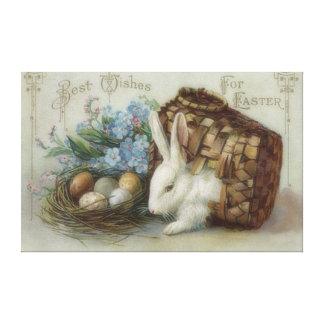 Easter Bunny Colored Painted Egg Basket Forget Me Canvas Print