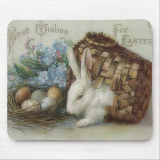 Easter Bunny Colored Painted Egg Basket Forget Me Mouse Pad