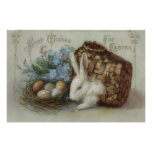Easter Bunny Colored Painted Egg Basket Forget Me Posters