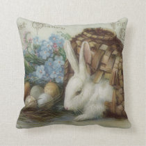 Easter Bunny Colored Painted Egg Basket Forget Me Throw Pillow