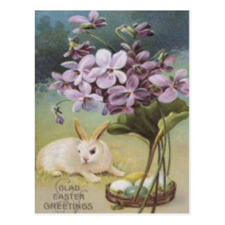 Easter Bunny Colored Painted Egg Crocus Postcard
