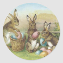 Easter Bunny Colored Painted Egg Field Classic Round Sticker