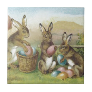 Easter Bunny Colored Painted Egg Field Tile