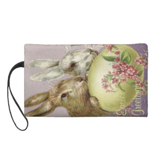 Easter Bunny Colored Painted Egg Pink Flower Wristlet Clutches