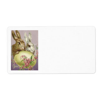 Easter Bunny Colored Painted Egg Pink Flower Label