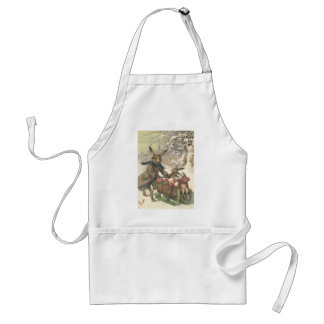Easter Bunny Colored Painted Egg Sled Snow Adult Apron