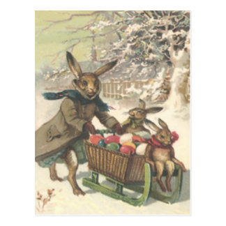 Easter Bunny Colored Painted Egg Sled Snow Postcard