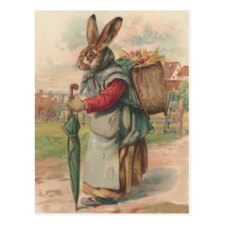 Easter Bunny Colored Painted Egg Umbrella Postcard