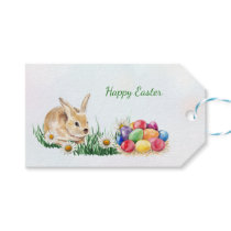 Easter bunny, colorful eggs and daisy gift tags
