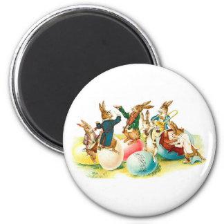Easter Bunny Concert Vintage 2 Inch Round Magnet