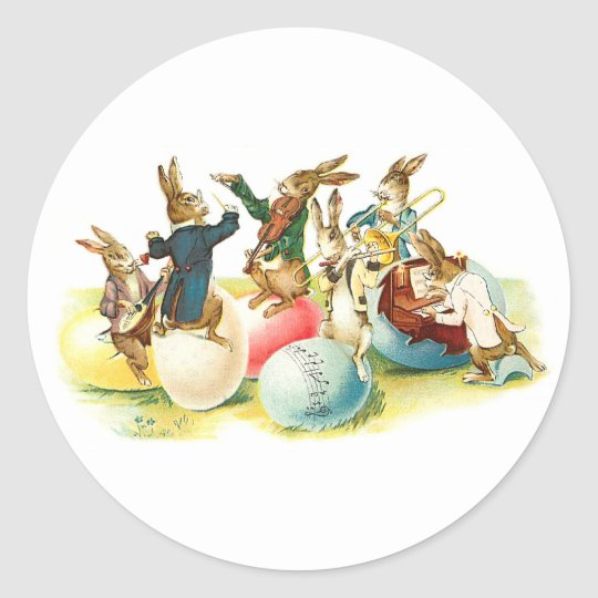 Easter Bunny Concert Vintage Classic Round Sticker