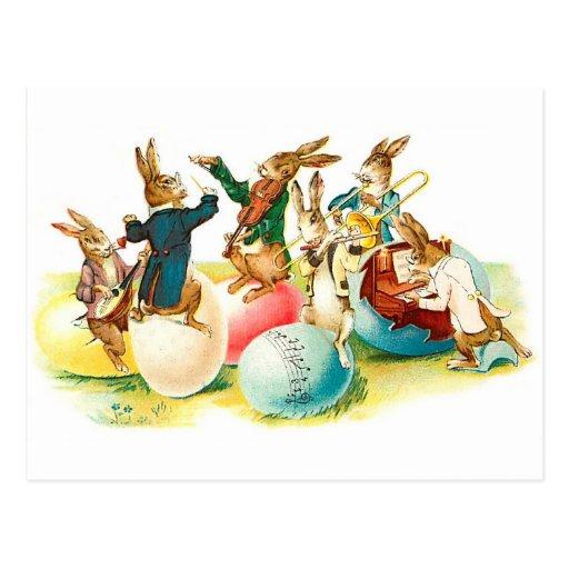 Easter Bunny Concert Vintage Postcard