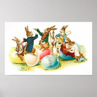 Easter Bunny Concert Vintage Print