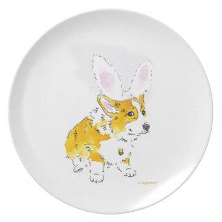 Easter Bunny Corgi Plate