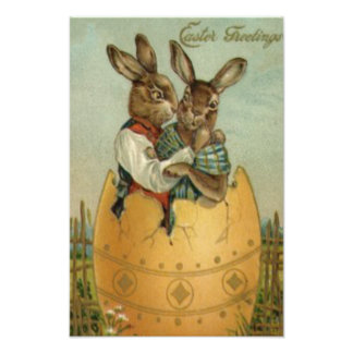 Easter Bunny Couple Colored Painted Egg Flower Photo Print