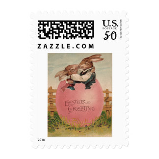 Easter Bunny Couple Kissing Painted Colored Egg Postage