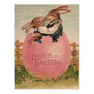 Easter Bunny Couple Kissing Painted Colored Egg Postcard