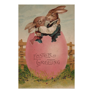 Easter Bunny Couple Kissing Painted Colored Egg Poster