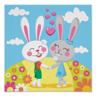 Easter Bunny Couple Poster