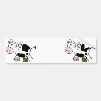 Easter Bunny Cow Bumper Sticker