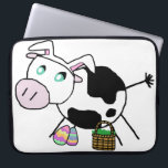 "Easter Bunny Cow Computer Sleeve<br><div class=""desc"">Cow is dressed as the Easter Bunny!  She&#39;s wearing a white bunny ear hat and has an Easter basket and some Easter eggs.  This Easter cow is a hand drawn digital image of a cute black and white stick figure cow.</div>"
