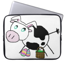 Easter Bunny Cow Computer Sleeve