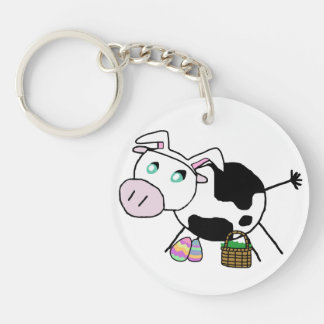 Easter Bunny Cow Keychain
