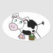Easter Bunny Cow Oval Sticker