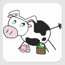 Easter Bunny Cow Square Sticker