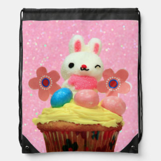 Easter Bunny cupcake Drawstring Backpack