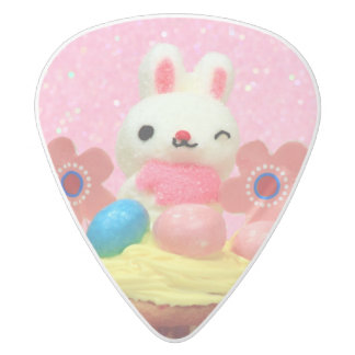 Easter Bunny cupcake White Delrin Guitar Pick