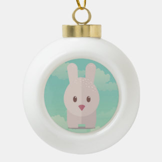 Easter Bunny Cute Animal Nursery Art Illustration Ceramic Ball Christmas Ornament