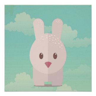 Easter Bunny Cute Animal Nursery Art Illustration Poster