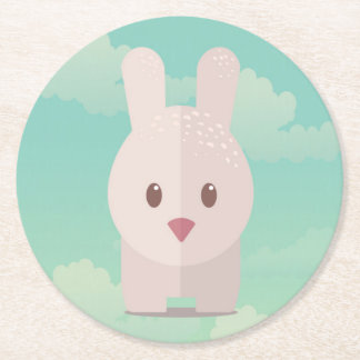Easter Bunny Cute Animal Nursery Art Illustration Round Paper Coaster
