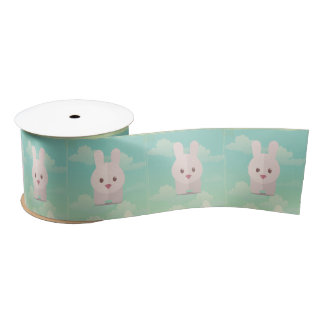 Easter Bunny Cute Animal Nursery Art Illustration Satin Ribbon