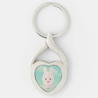 Easter Bunny Cute Animal Nursery Art Illustration Silver-Colored Heart-Shaped Metal Keychain