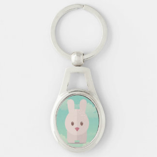 Easter Bunny Cute Animal Nursery Art Illustration Silver-Colored Oval Metal Keychain
