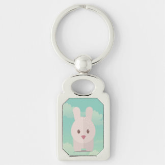 Easter Bunny Cute Animal Nursery Art Illustration Silver-Colored Rectangular Metal Keychain