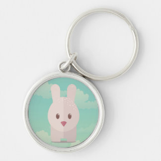 Easter Bunny Cute Animal Nursery Art Illustration Silver-Colored Round Keychain