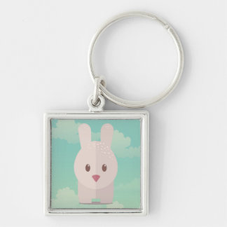 Easter Bunny Cute Animal Nursery Art Illustration Silver-Colored Square Keychain