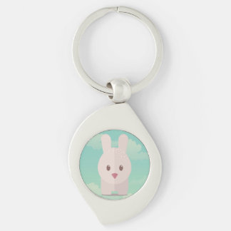 Easter Bunny Cute Animal Nursery Art Illustration Silver-Colored Swirl Metal Keychain