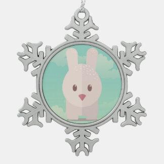 Easter Bunny Cute Animal Nursery Art Illustration Snowflake Pewter Christmas Ornament