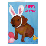 Easter Bunny Dachshund 2010 Card