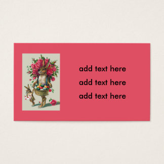 Easter Bunny Dad Child Rose Basket Egg Business Card