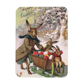 Easter Bunny Delivering Eggs in The Snow by Sled Rectangular Photo Magnet